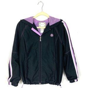Green Tea Athletic Windbreaker Hood Jacket Size M